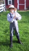 Boy in pioneer clothing