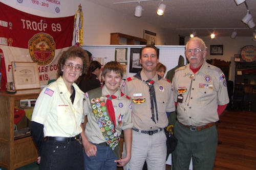 Eagle Scout at ceremony